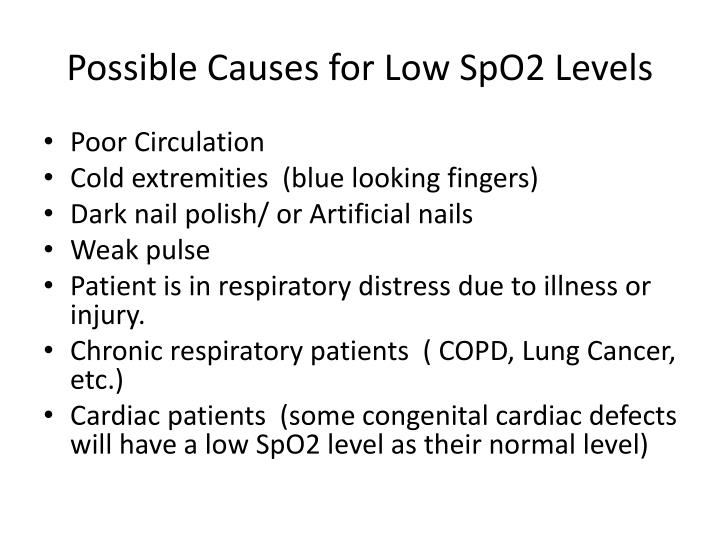 Possible Causes for Low SpO2 Levels