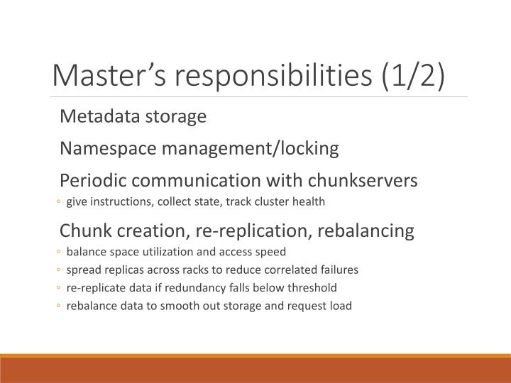 Master's responsibilities (1/2)