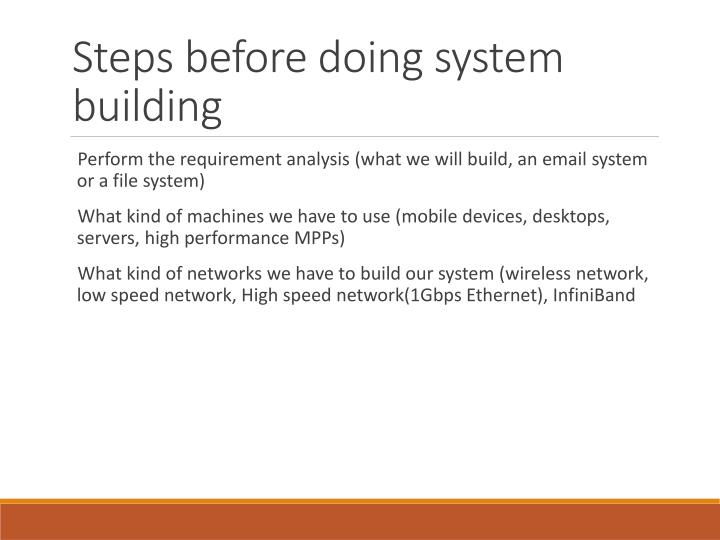 Steps before doing system building
