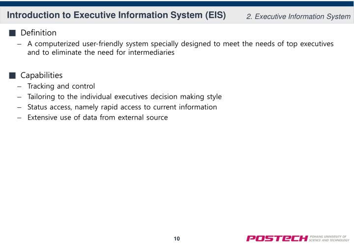 Introduction to Executive Information System (EIS)