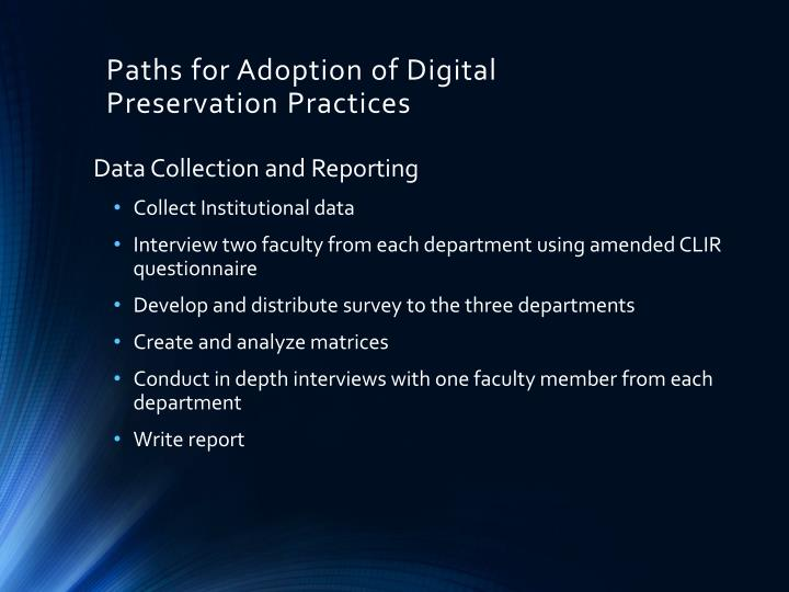 Paths for Adoption of Digital Preservation