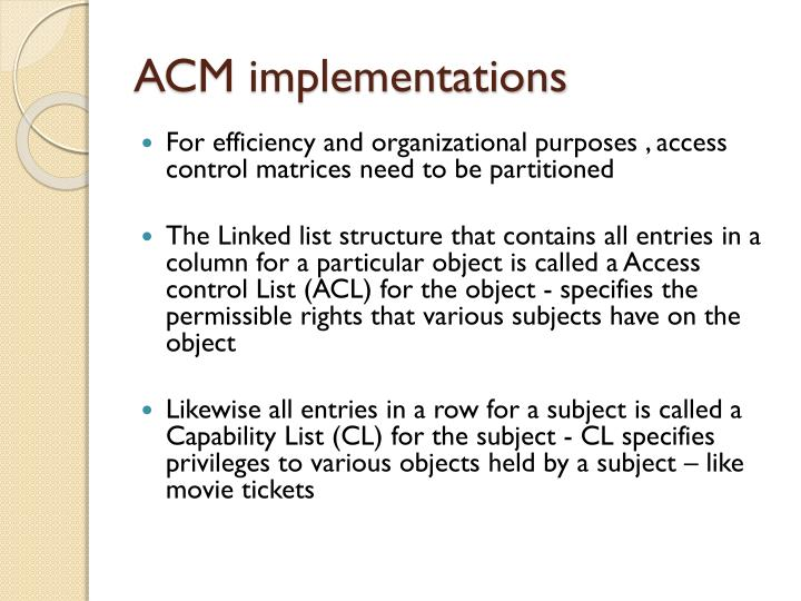 ACM implementations