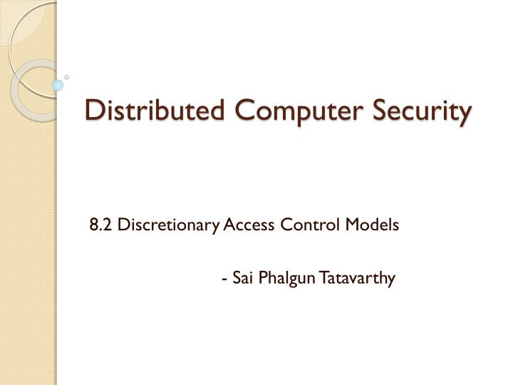 Distributed computer security