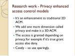 research work privacy enhanced access control models