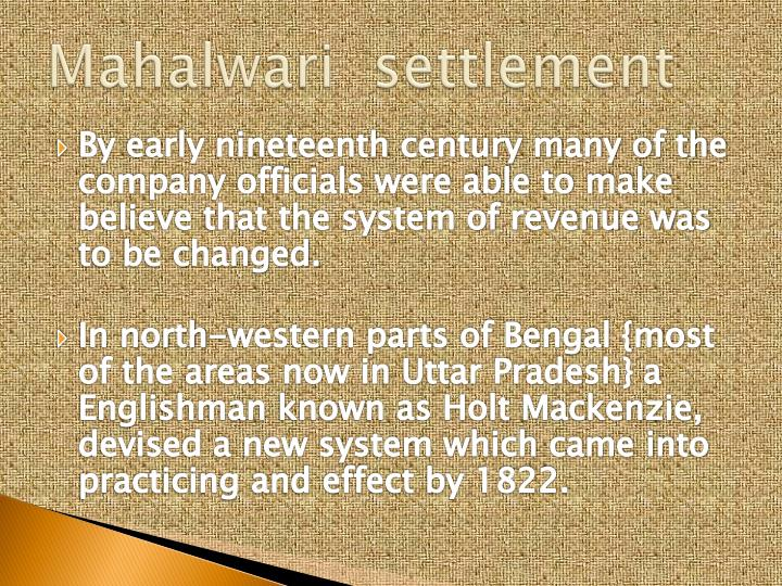 Mahalwari  settlement
