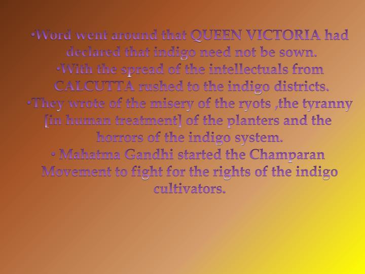 Word went around that QUEEN VICTORIA had