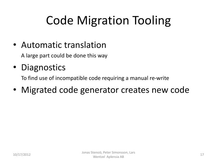 Code Migration Tooling
