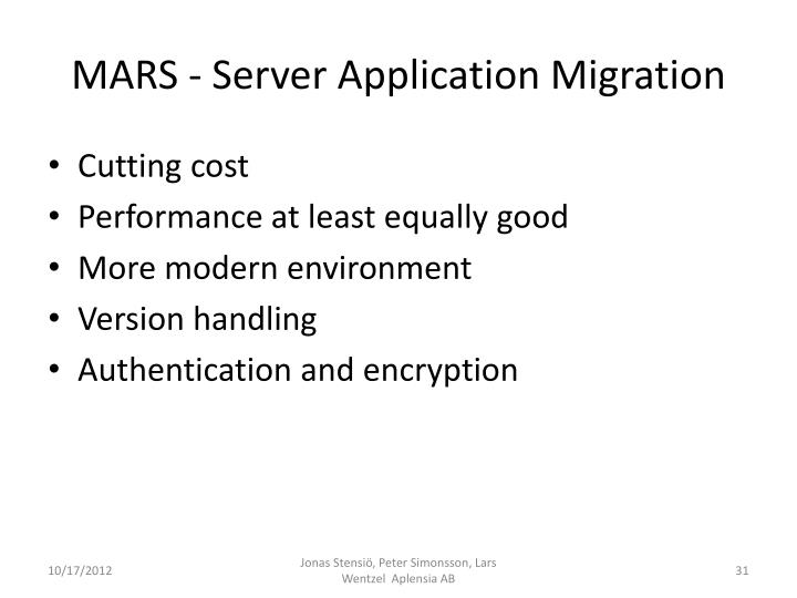 MARS - Server Application Migration