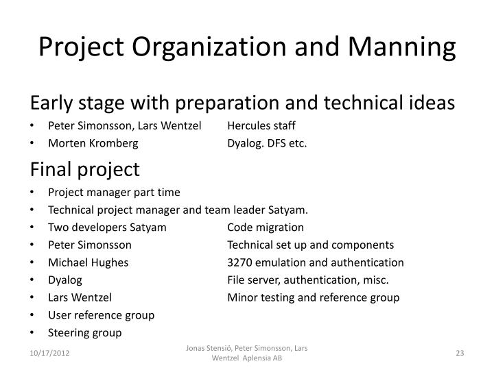 Project Organization and Manning
