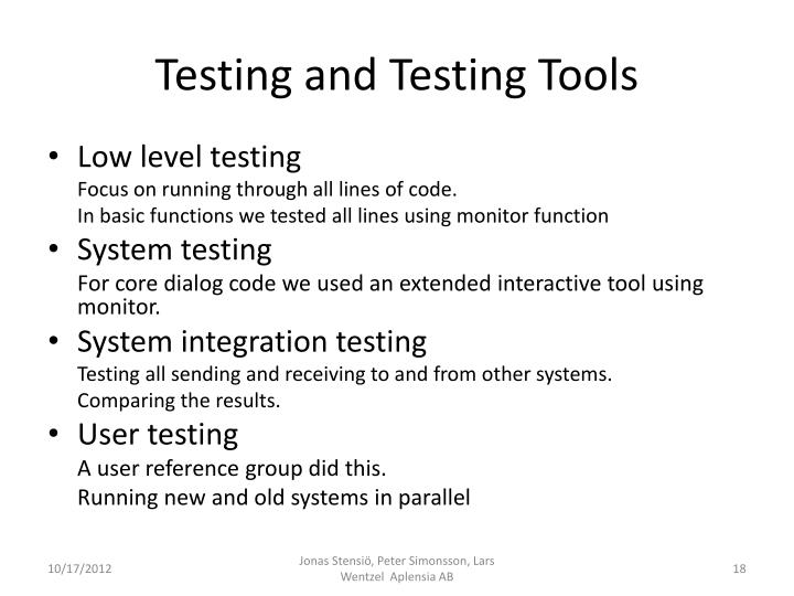 Testing and Testing Tools