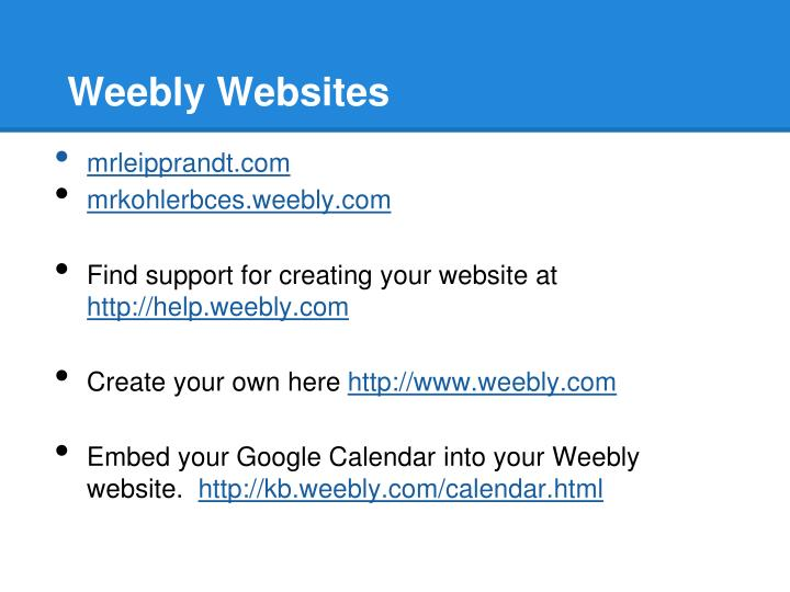 Weebly Websites