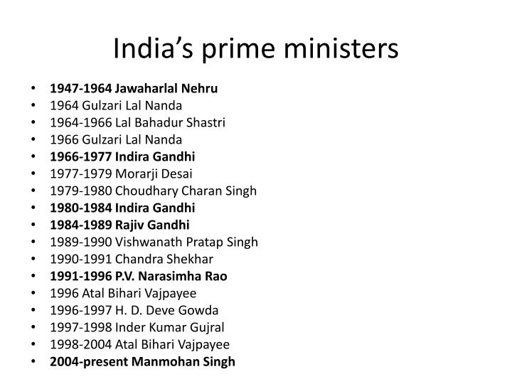 India's prime ministers