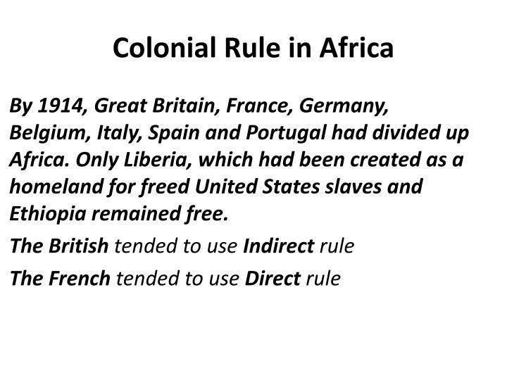 Colonial Rule in Africa