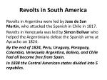 revolts in south america