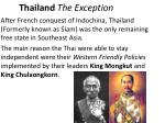 thailand the exception