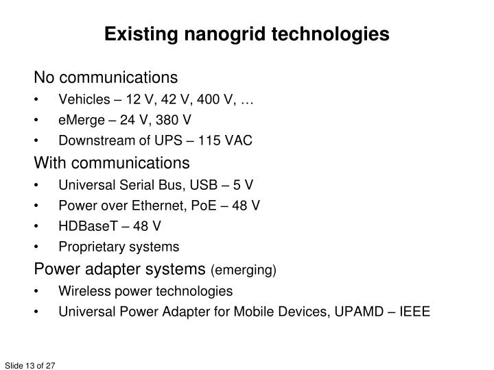 Existing nanogrid technologies