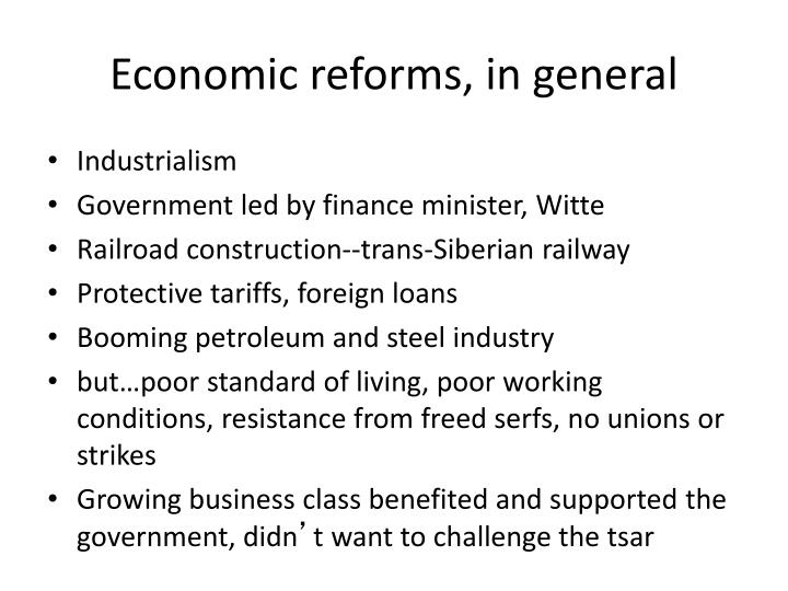 Economic reforms in general