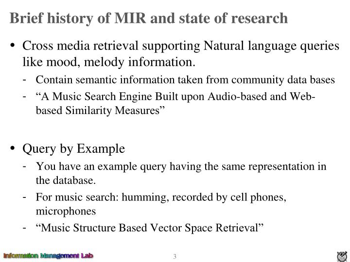Brief history of mir and state of research