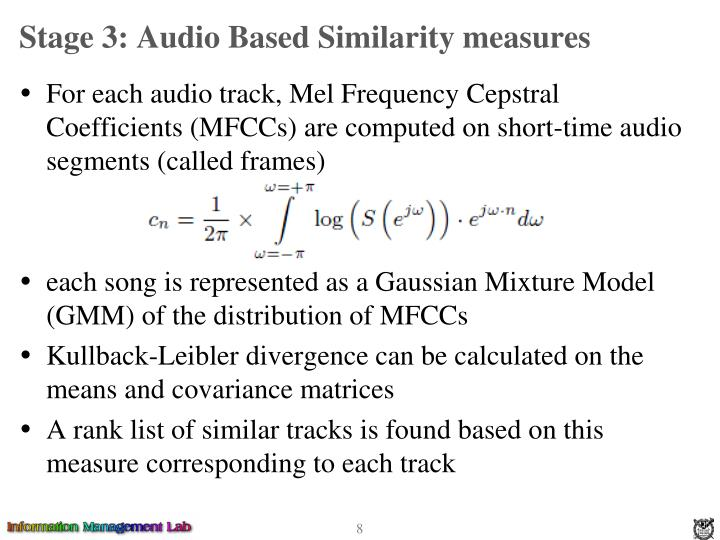 Stage 3: Audio Based Similarity measures