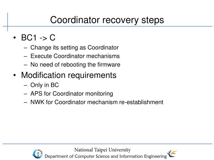 Coordinator recovery steps