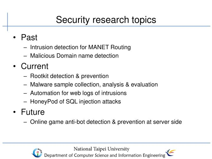 Security research topics