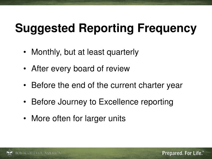 Suggested Reporting Frequency