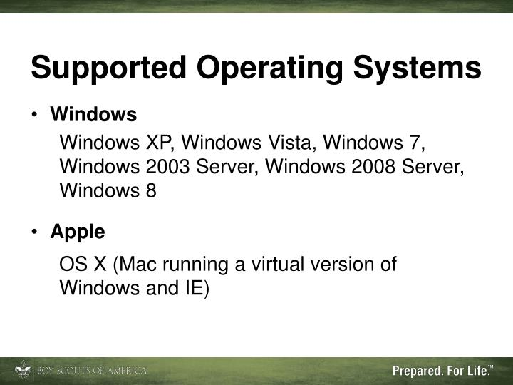 Supported Operating Systems