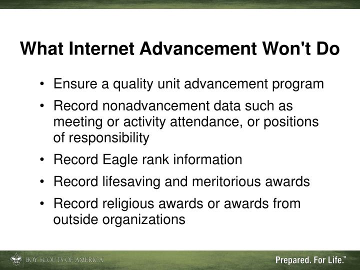 What Internet Advancement Won't