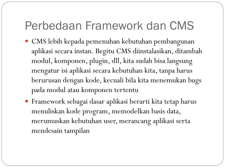Perbedaan Framework dan CMS