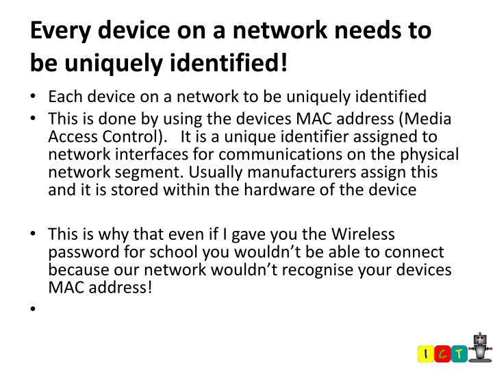 Every device on a network needs to be uniquely identified!