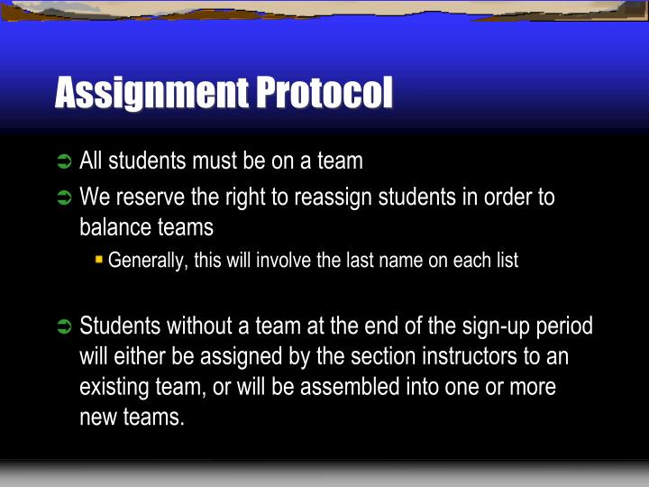 Assignment Protocol