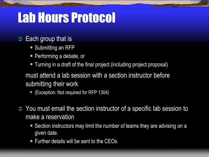 Lab Hours Protocol