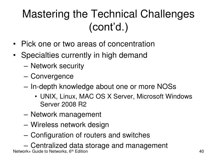 Mastering the Technical Challenges (cont'd.)