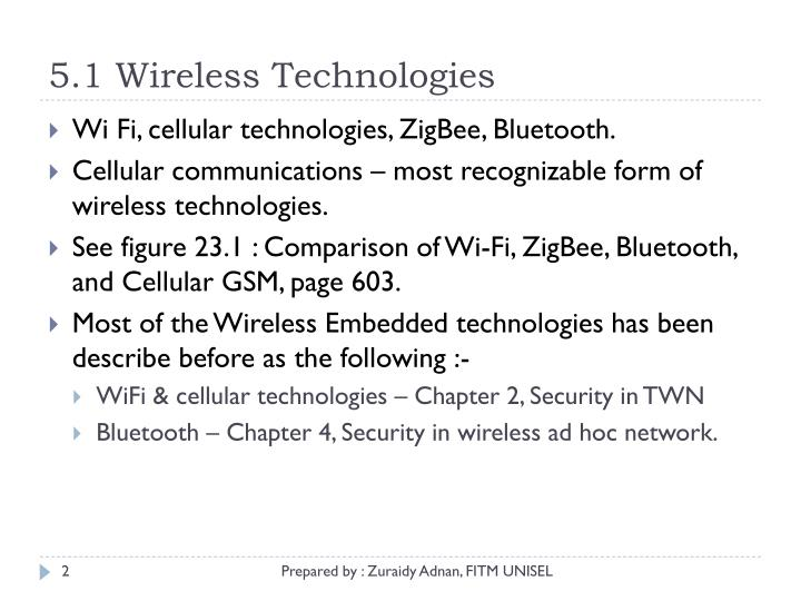 5.1 Wireless Technologies