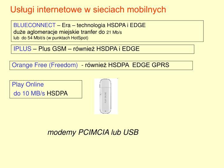 Usługi internetowe w sieciach mobilnych