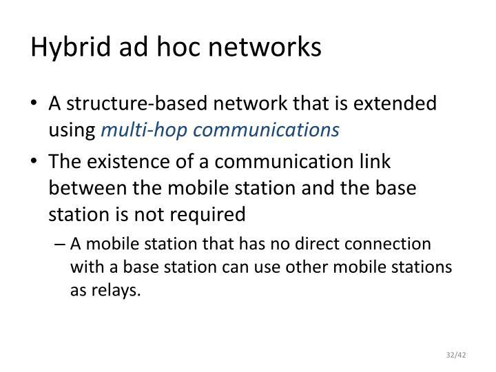 Hybrid ad hoc networks