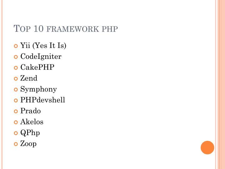 Top 10 framework php