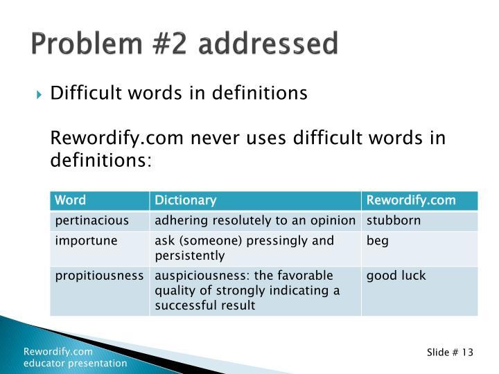 Problem #2 addressed