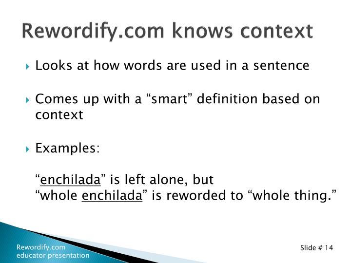 Rewordify.com knows context