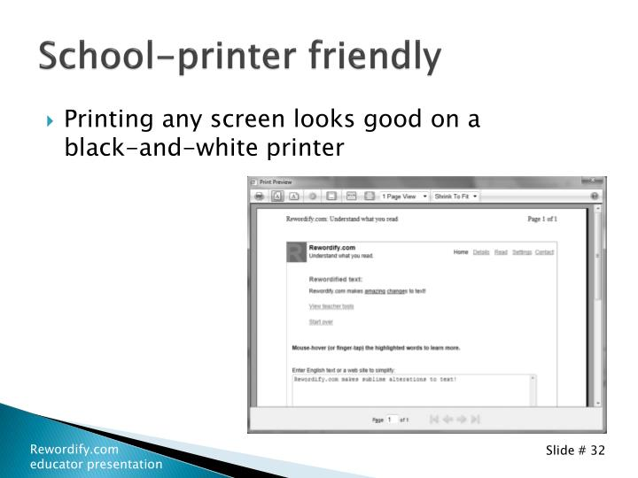 School-printer friendly