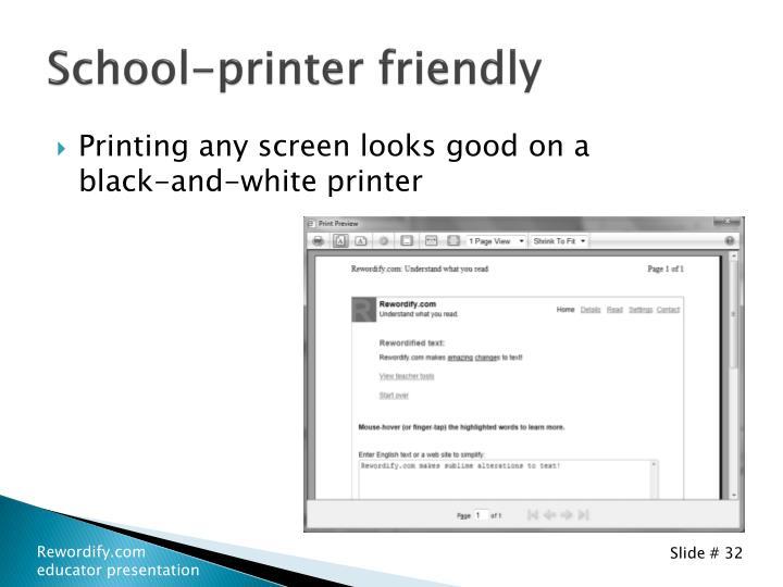 School-printer friendly