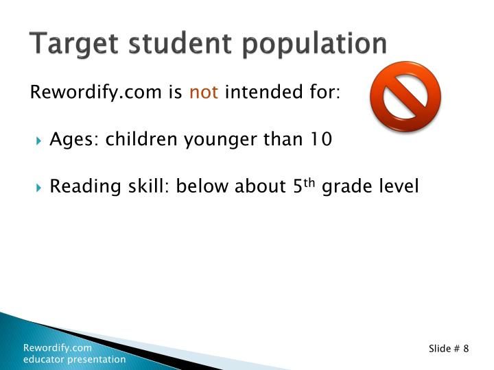 Target student population