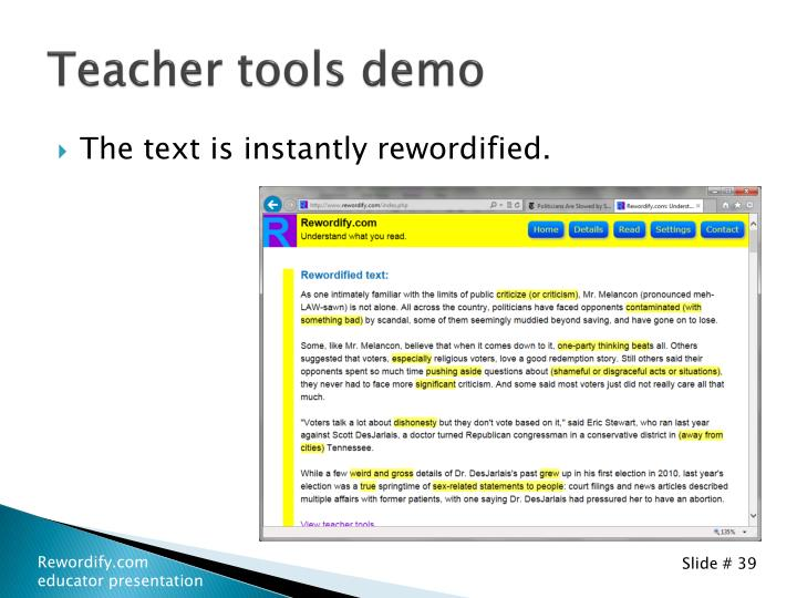 Teacher tools demo