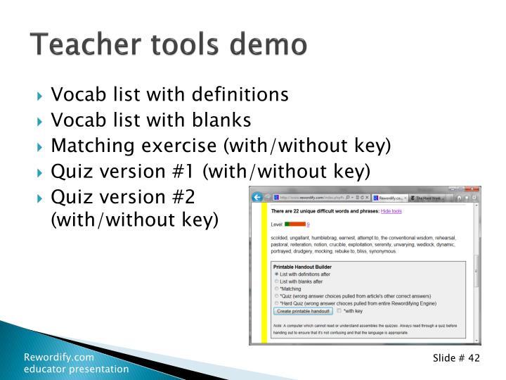 Teacher tools demo