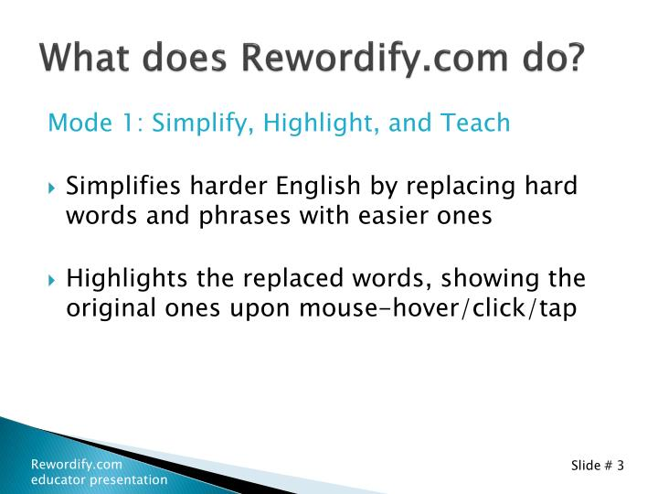 What does rewordify com do