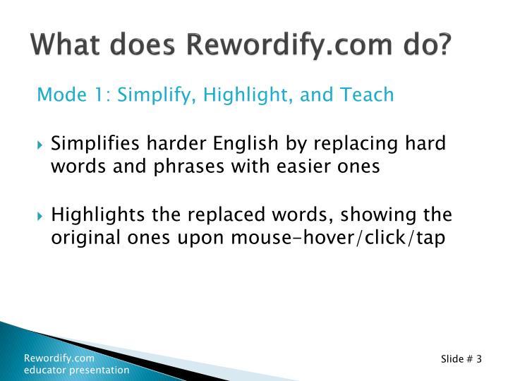 What does Rewordify.com do?