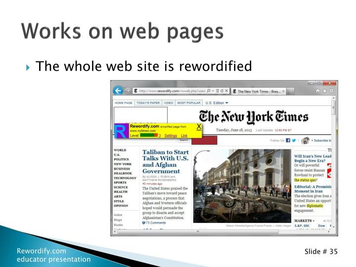 Works on web pages