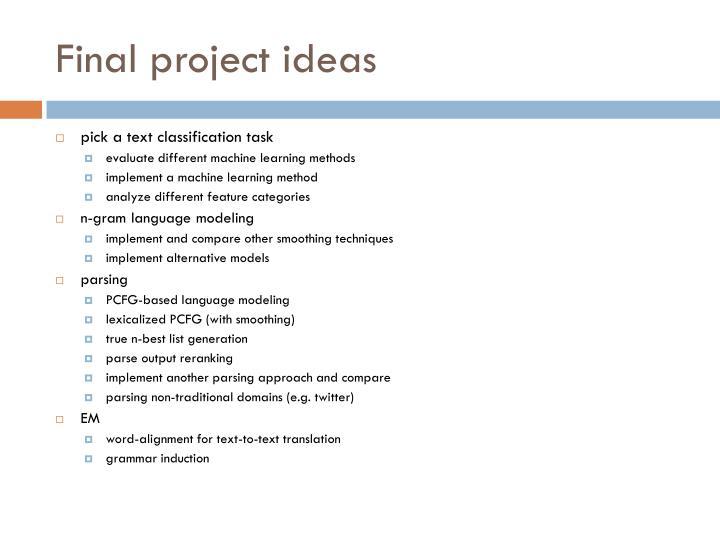 Final project ideas