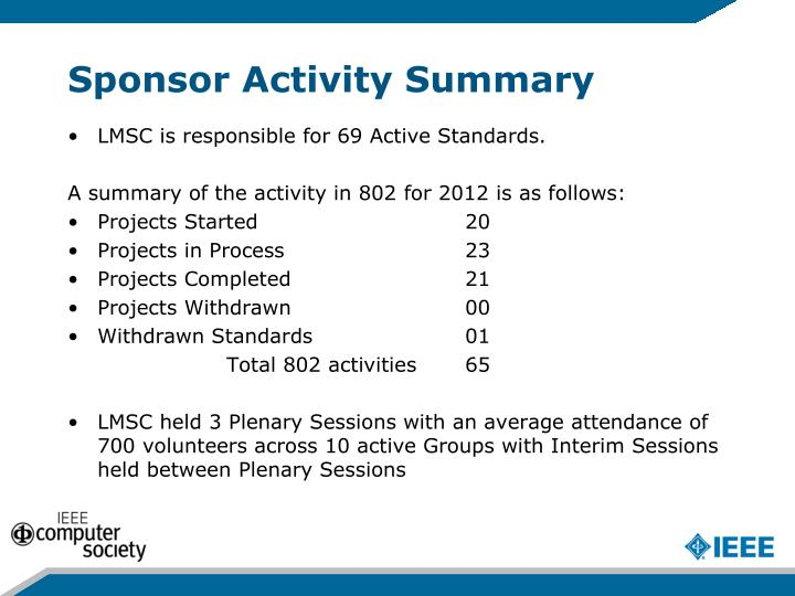 Sponsor activity summary
