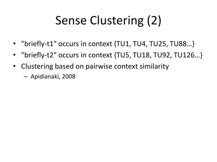 Sense Clustering (2)